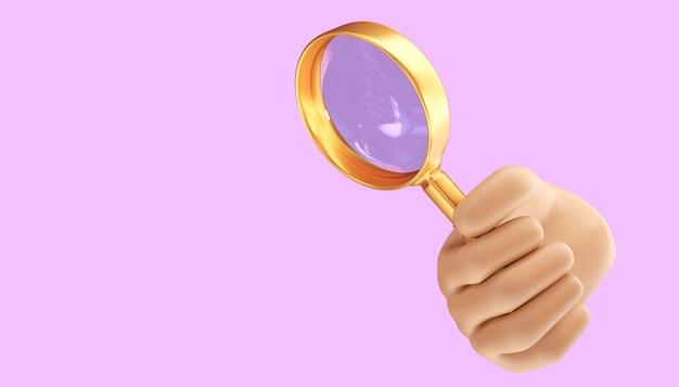 Мультфильм рука с увеличительным стеклом на изолированном фоне. 3d иллюстрация
