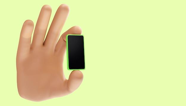 Мультфильм рука мобильный телефон на изолированном фоне. 3d иллюстрация