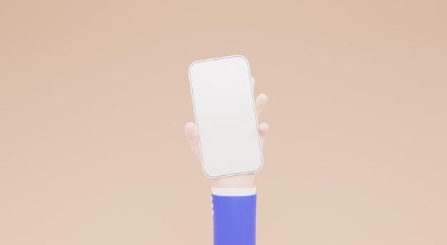 모바일 스마트폰 3d 일러스트를 들고 만화 손