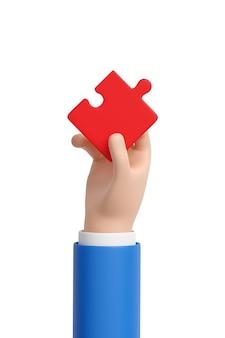 Мультфильм рука красный кусок головоломки. 3d иллюстрации.