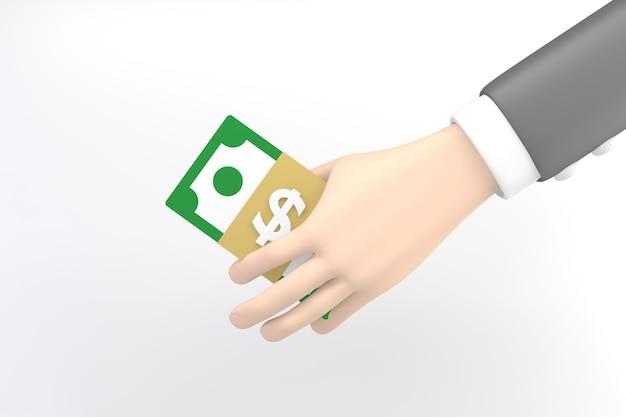 만화 손 지폐를 들고. 3d 렌더링