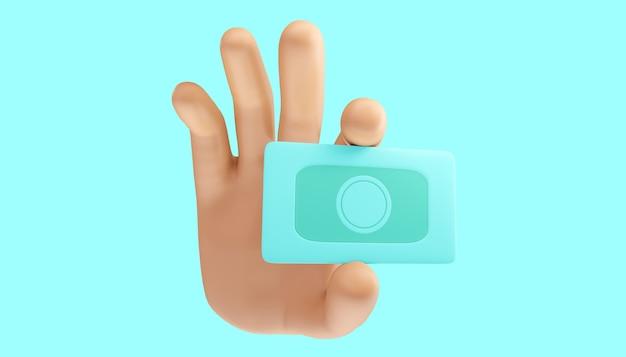 Мультфильм рука связывает наличные деньги на изолированном фоне. 3d иллюстрации.