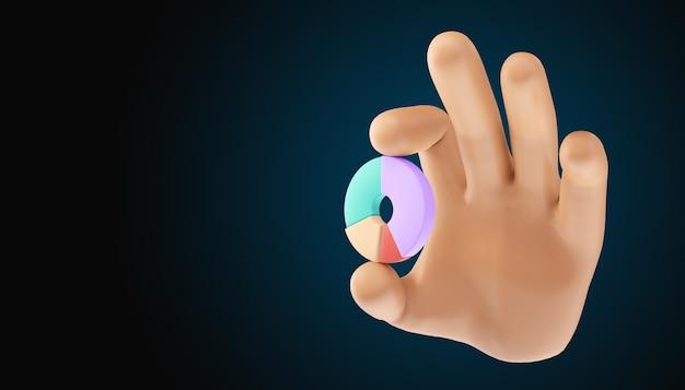 Мультфильм рука пончик диаграммы на изолированном фоне. 3d иллюстрация