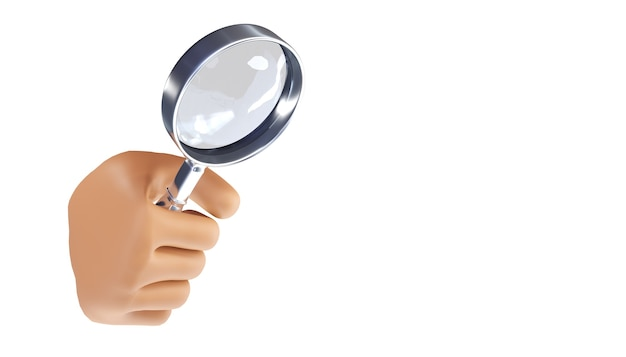 Cartoon hand holding a magnifying glass on an isolated background. 3d illustration