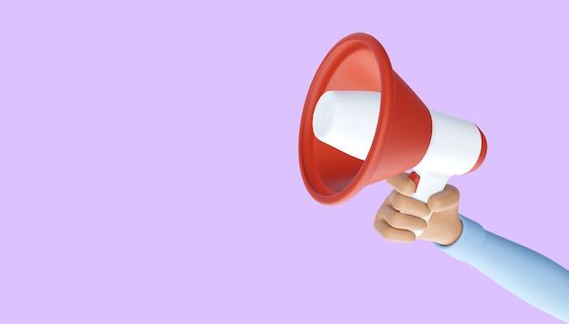 メガホンを持っている漫画の手。広告とプロモーションのシンボル。 3dイラスト