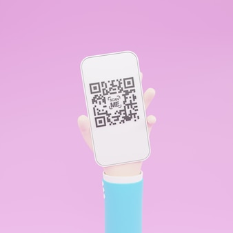 Cartoon hand holding mobile smartphone with scan qr code. scanning qr code and online payment, money transfer. electronic, digital technology, barcode 3d illustration