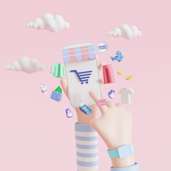 Cartoon hand holding mobile smartphone with shopping app. online shopping concept. 3d illustrations.