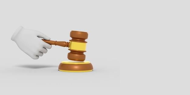 Мультяшный рука держит молоток судьи иллюстрация
