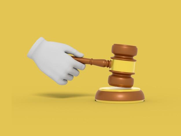 Мультяшная рука держит молоток судьи