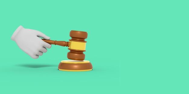 Мультяшная рука держит судейский хаммер