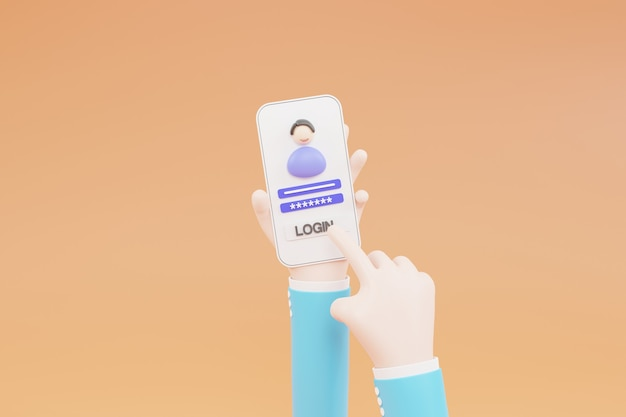 Cartoon hand, log in to an online account on a smartphone app. user interface. secure login and password. 3d illustration