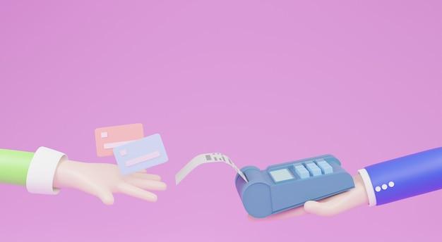 만화 손은 터미널을 통해 신용 카드로 결제합니다. edc 또는 스와이핑 머신으로 결제하는 고객 구매 및 판매 제품 또는 서비스, 3d 일러스트레이션