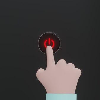 검은색 바탕에 빨간 버튼을 누르면 만화 손 푸시 버튼 플랫 스타일 개념입니다. 3d 렌더링.