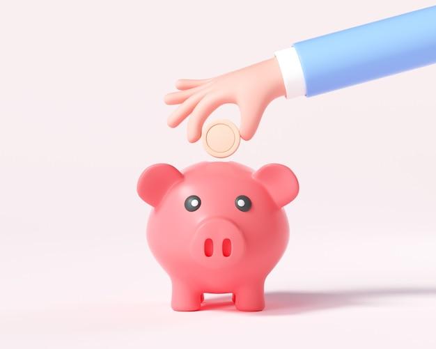 Cartoon hand putting coin to piggy bank. 3d render illustration
