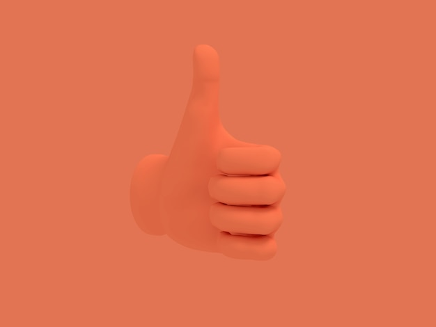 Мультфильм рука большой палец вверх. иллюстрация на фоне красного цвета. 3d-рендеринга.