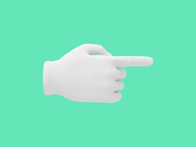 Cartoon hand with index finger.. illustration on green color background. 3d-rendering.