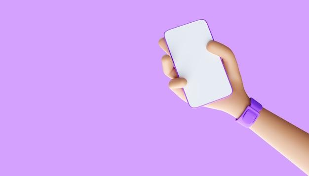 스마트폰 3d 그림을 들고 만화 손입니다.