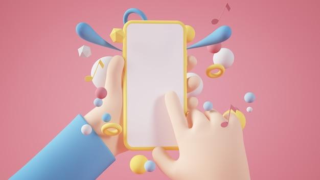 黄色の空白のスマートフォンを保持している漫画の手