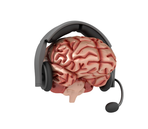 Cartoon human brain with headphones