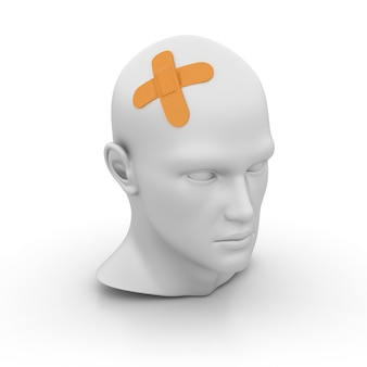 Cartoon human head with band-aid