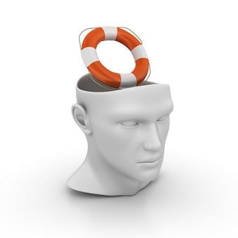 Cartoon human head with life belt