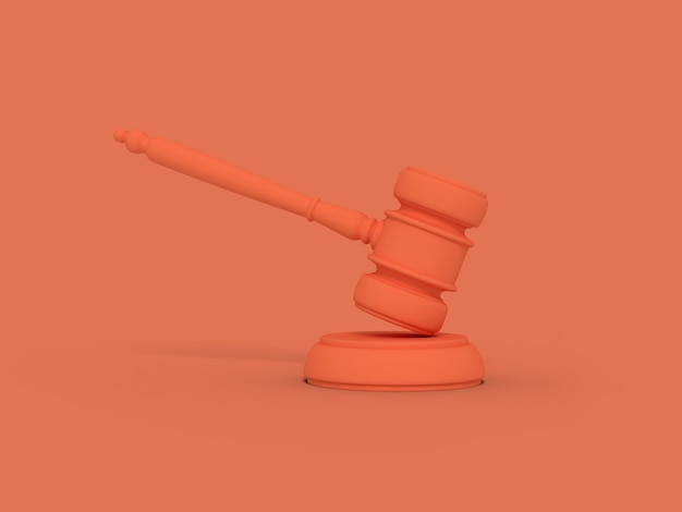 Cartoon judge's gavel. illustration on color background. 3d-rendering.
