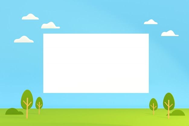 Cartoon landscape view with blank box for copy space, 3d illustration.