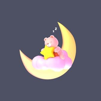Мультяшный медвежонок обнимает желтую звезду с комическим эффектом zzz, сидя на розовом облаке
