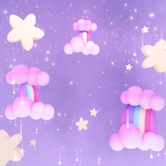 Cartoon magic rainbow waterfalls and shiny stars 3d rendered picture