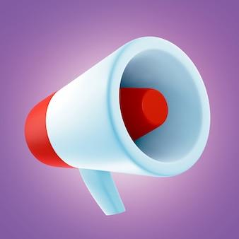 Мультфильм мегафон на фиолетовом фоне. 3d визуализация