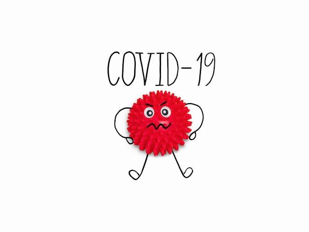 白い背景の上のテキストcovid-19と漫画分子コロナウイルス。