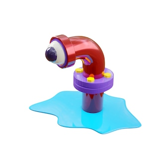 Cartoon monster in a sewer pipe in glossy red, looks with one eye, like in a telescope of a submarine. a blue puddle of water spread around the pipe. 3d rendering isolate on a white wall.