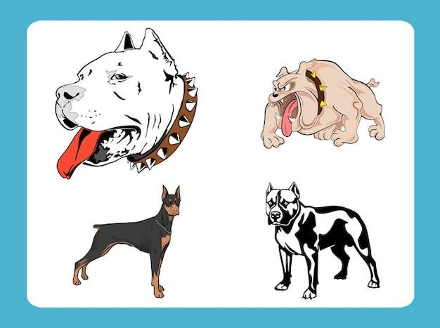 Cartoon pet dogs breed vector