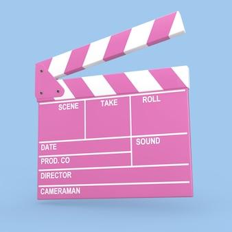 Мультяшный розовый кино фильм клаппер или вагонка на синем фоне. 3d рендеринг