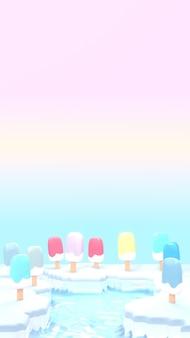Мультфильм фруктовое мороженое ледяная земля 3d визуализированное изображение вертикальное