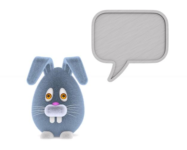 白で漫画のウサギとバブルスピーチ。