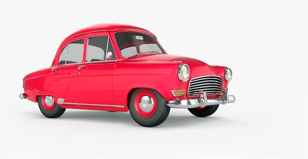 Cartoon red car isolated closeup