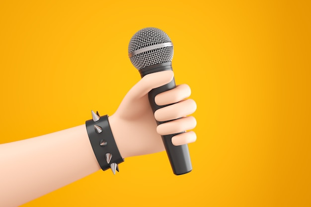 Мультяшный рокер рука в черном кожаном браслете держит микрофон на желтом фоне. 3d визуализация иллюстрации.