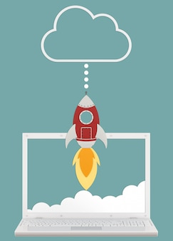 현실적인 태블릿 및 구름, 업로드 속도의 개념 만화 로켓