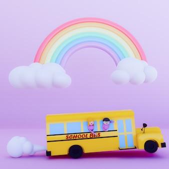 Cartoon of school bus 3d render .back to school concept.