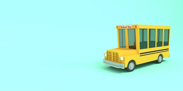 青色の背景に黄色の漫画スクールバス。シンプルな孤立した学校のイラスト。 3dレンダリング。