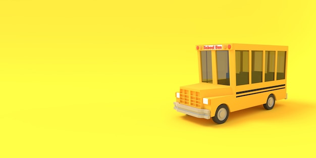 Cartoon school bus yellow on a yellow background 3d rendered