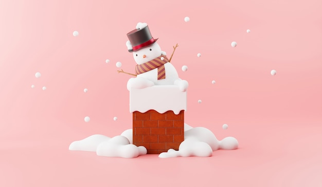 Cartoon of snowman on the chimney