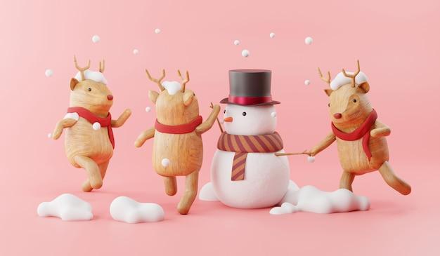 Cartoon of snowman and christmas reindeer