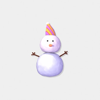 Cartoon snowman on light gray background 3d rendere picture