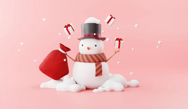 Cartoon of snowman and santa gift bag