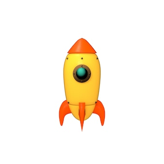 Cartoon space rocket on white background 3d rendered picture