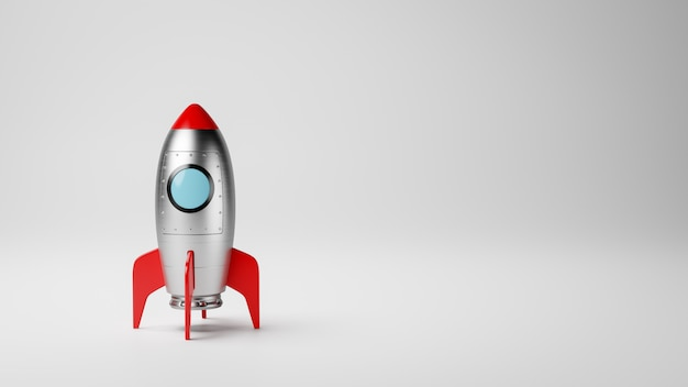 Мультфильм космический корабль на белом с copyspace