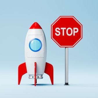 Cartoon spaceship and red stop road sign on blue wall