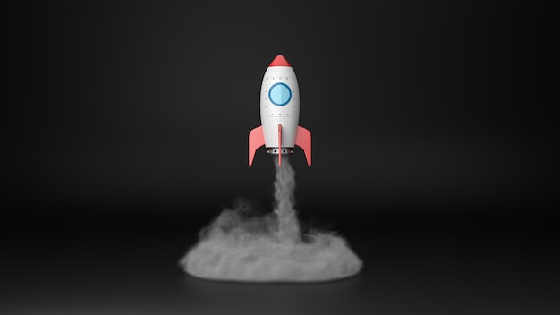 孤立したスポットライトで離陸する漫画の宇宙船
